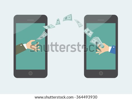 Money transaction on line, mobile payments using smartphone. Vector illustration of hand giving money other hand. - stock vector