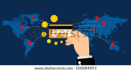 Money transaction credit card worldwide business stock vector money transaction with a credit card worldwide business online banking and online payment reheart Choice Image