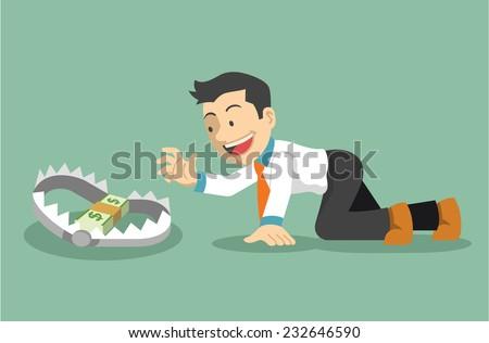 Money trap. Vector flat illustration - stock vector