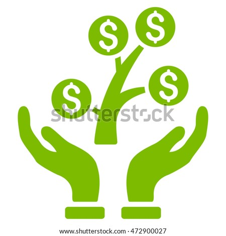 Money Tree Care Hands icon. Vector style is flat iconic symbol with rounded angles, eco green color, white background.