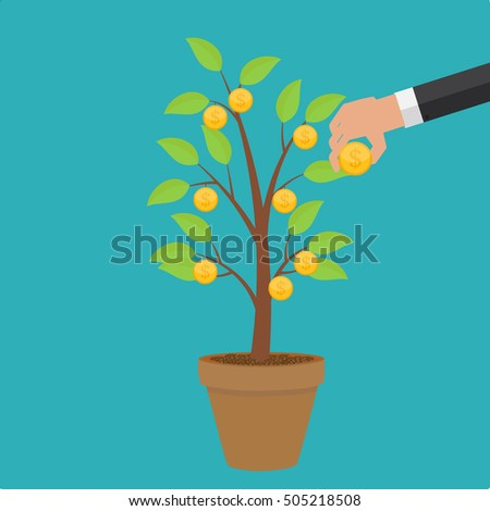 Money Tree, Financial Growth Flat Concept Vector Illustration EPS10