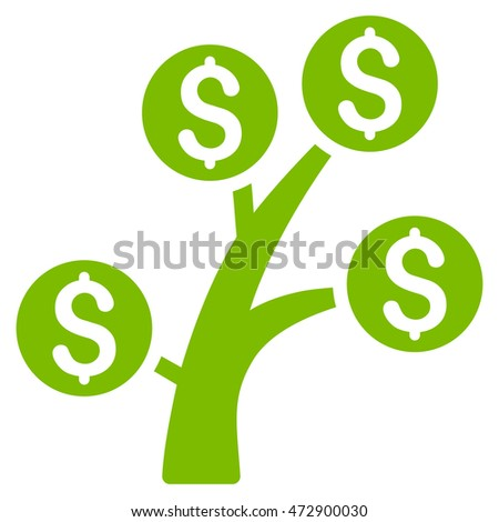 Money Tree icon. Vector style is flat iconic symbol with rounded angles, eco green color, white background.