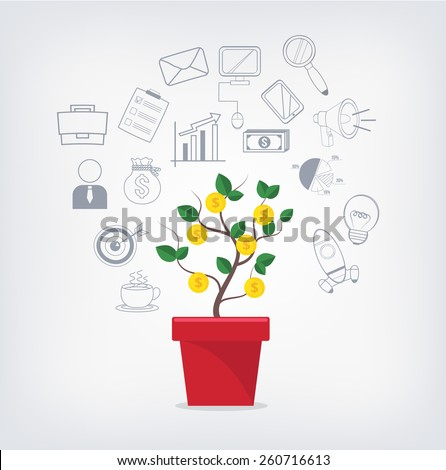 Money tree red pot business icons stock vector 260716613 shutterstock money tree in red pot and business icons set creative vector illustration isolated on ccuart Image collections