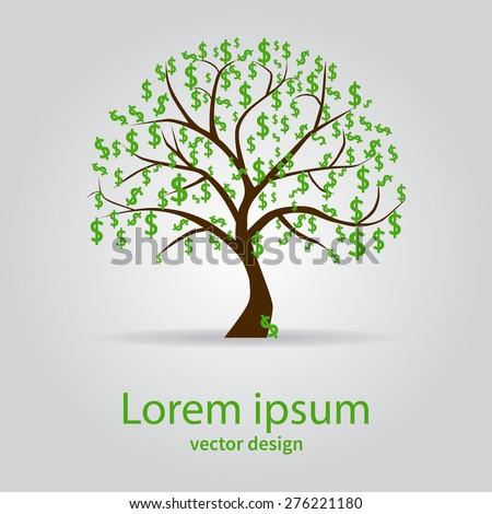 Money tree isolated on white background. Symbol, dollar, business. Vector illustration. - stock vector