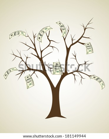 money tree made of hundred dollar bills - stock vector