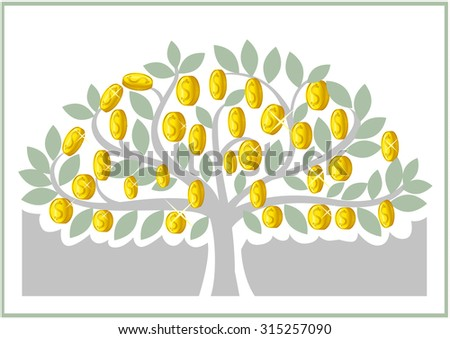 money tree on a gray background - stock vector