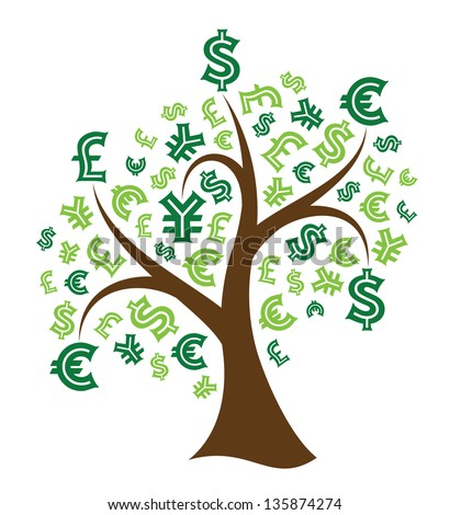 Money tree on white background. Abstract illustration.