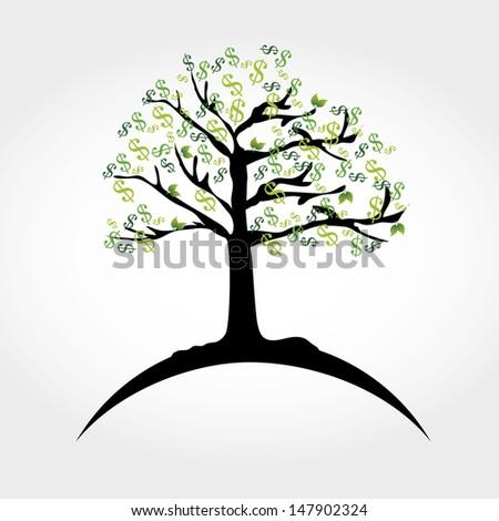 money tree over white background vector illustration  - stock vector
