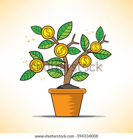 money tree vector grow - stock vector