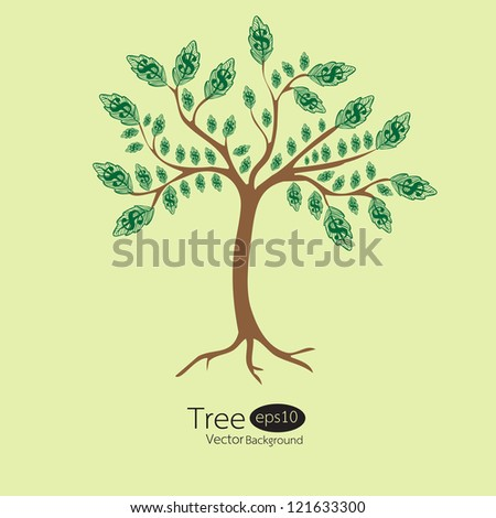 Money tree. Vector Illustration. - stock vector