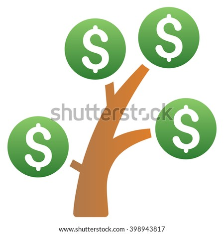 Money Tree vector toolbar icon for software design. Style is a gradient icon symbol on a white background.