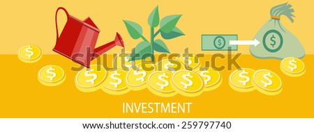 Money tree with coins watered from a watering can. Investment concept. Concept in flat design style. Can be used for web banners, marketing and promotional materials, presentation templates - stock vector