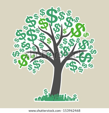 Money tree with dollar signs as leaves