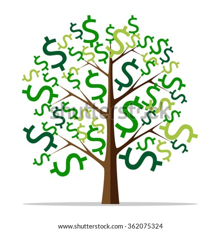 Money tree with green dollar signs isolated on white background. Flat style. Wealth, success, profit, finance, business concept. EPS 8 vector illustration, no transparency