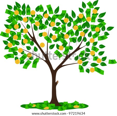 money tree with leaves and dollars vector illustration