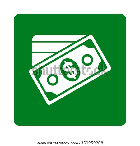 Money vector icon. Style is flat rounded square button, white and green colors, white background. - stock vector