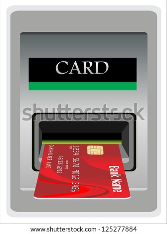 Money withdrawal. ATM and credit or debit card. - stock vector