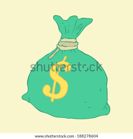 Moneybag, money stack, vector Illustration, hand drawing