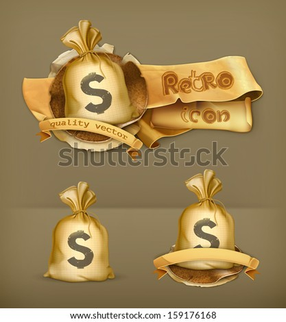 Moneybag, vector icon - stock vector