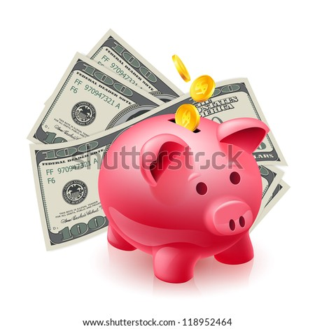Moneybox - pig and dollars. Illustration on white - stock vector