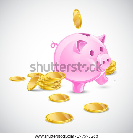 Moneybox pig with gold coins - stock vector