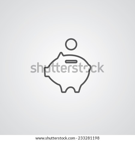 moneybox piggy outline thin symbol, dark on white background, logo editable, creative template  - stock vector
