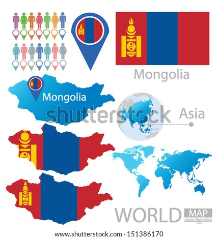 Mongolia flag asia world map vector stock vector 151386170 mongolia flag asia world map vector illustration gumiabroncs Gallery