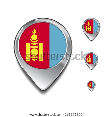 Mongolia flag map pointer. 3d Map Pointer with flag glossy button style on gray background - stock vector