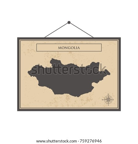 Mongolia Map Vector Illustration Stock Vector Shutterstock - Mongolia map vector