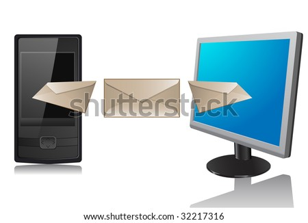 Monitor and phone. A vector. Without mesh. - stock vector