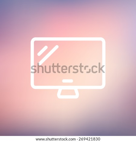 Monitor icon thin line for web and mobile, modern minimalistic flat design. Vector white icon on gradient  mesh background. - stock vector