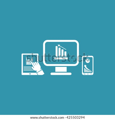 Monitor, Mobile Phone & Tablet Phone Icon. Eps-10. - stock vector