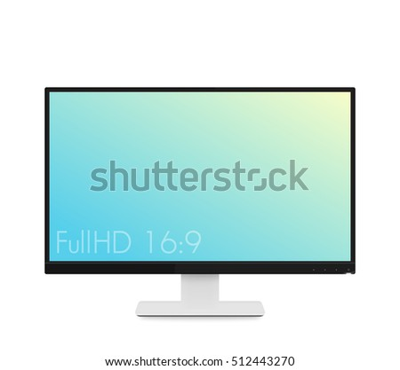 monitor mockup, modern realistic computer display with wide screen and thin frames, vector illustration