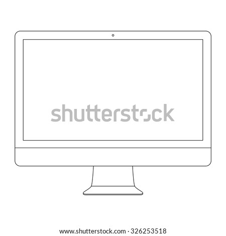 monitor outline icon in imac style on the white background. stock vector illustration eps10 - stock vector
