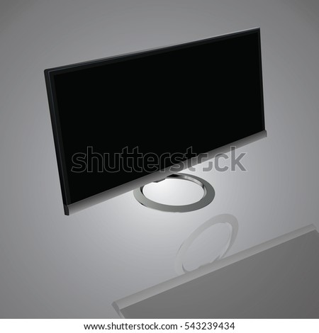 Monitor PC realistic  isolated on a gray background, vector illustration stylish for web design.