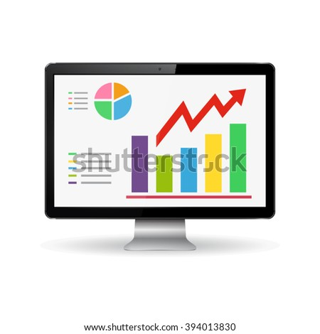 Monitor with graphs on the screen - stock vector