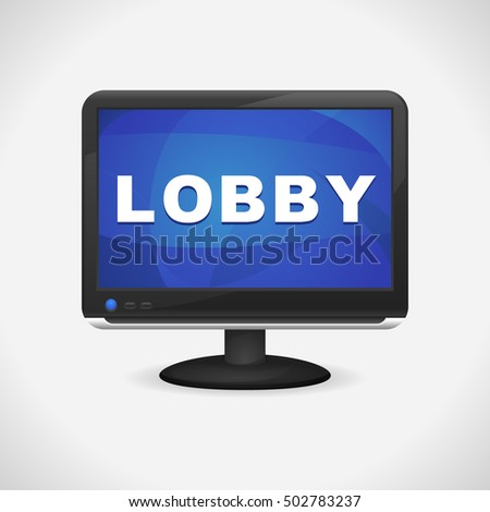 Monitor with Lobby on screen for Web, Mobile App, Presentations