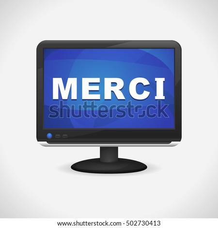 Monitor with Merci on screen for Web, Mobile App, Presentations