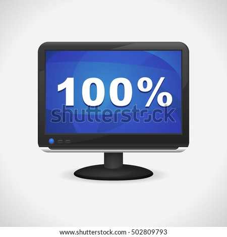 Monitor with 100% on screen for Web, Mobile App, Presentations