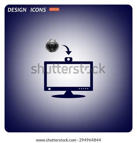 monitor with web camera. computer display. icon. vector design