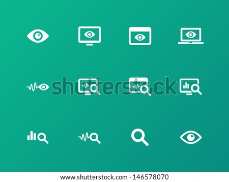 Monitoring icons on green background. Vector illustration. - stock vector