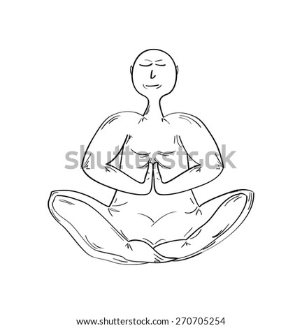 monk in meditating pose on white background, isolated - stock vector