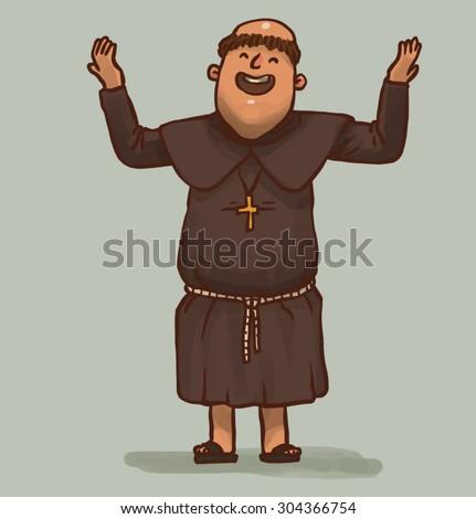 monk is praying, vector - stock vector