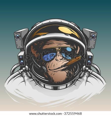 Monkey astronaut illustration - stock vector