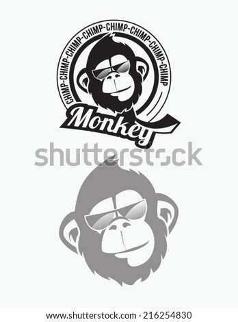 Monkey, chimp illustration - stock vector