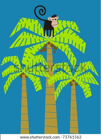 Monkey climbed in a coco-palm