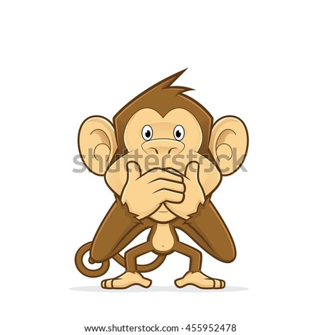 Monkey closing his mouth - stock vector