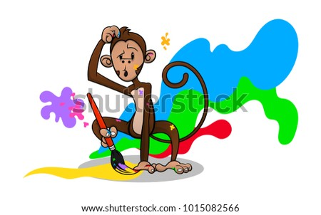 Monkey Drawing With Paintbrush For Children Coloring Book Cover Cartoon Vector