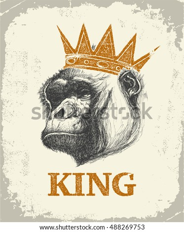 Monkey Face With King Inscription Hand drawn Vector illustration.