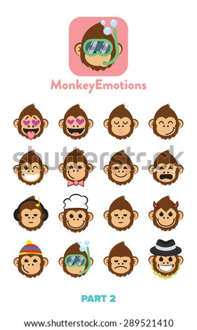 Monkey faces, emoticons - stock vector